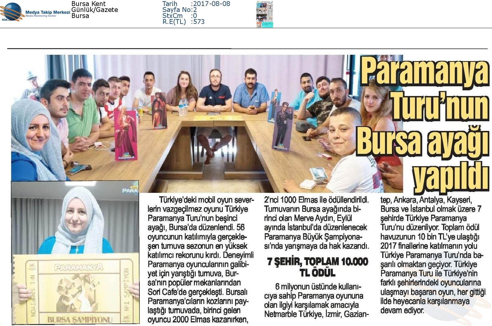 """Bursa Kent Gazetesi'nde """"Paramanya Turu Bursa ayağı yapıldı"""""""