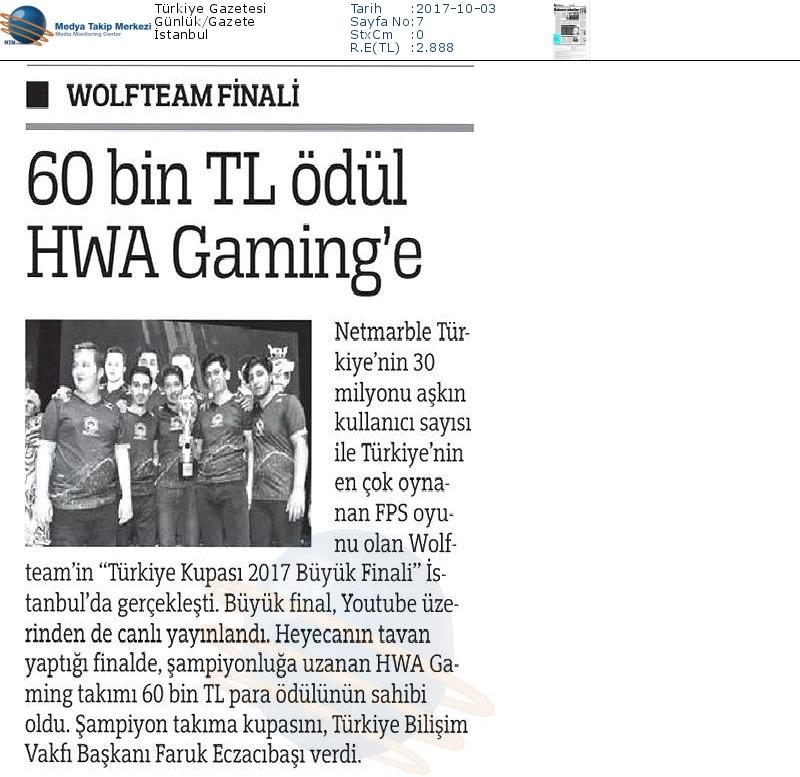 """Türkiye Gazetesi'nde """"60 bin TL'ye HWA Gaming'e"""""""