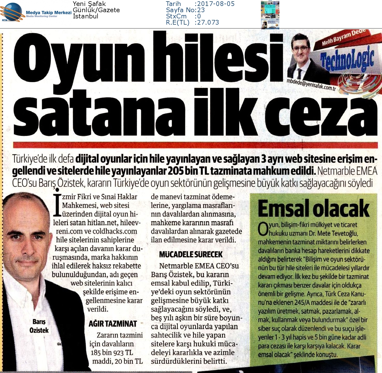 """Yeni Şafak Gazetesi'nde """"Oyun Hilesine Satana İlk Ceza"""""""