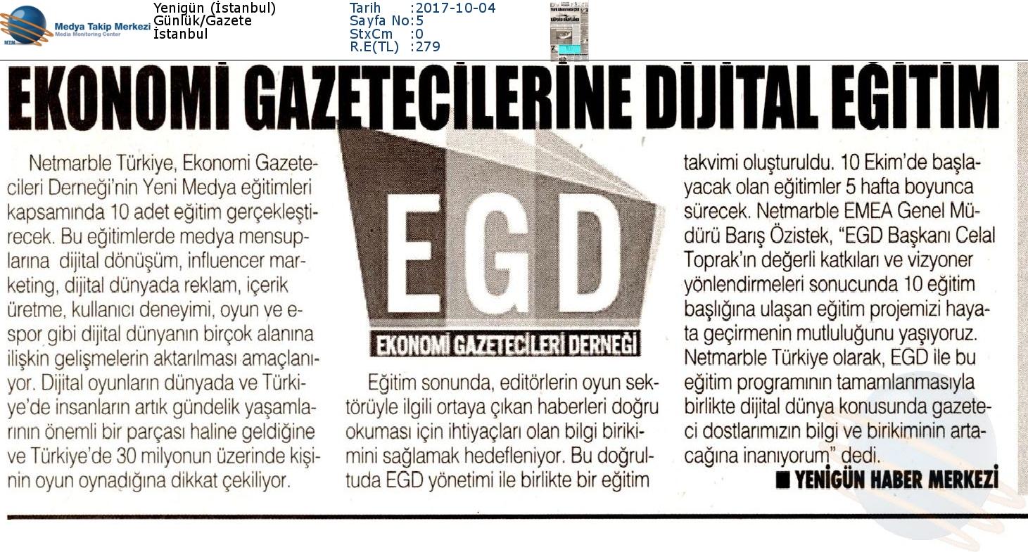 """Yenigün Gazetesi'nde """"Ekonomi Gazetecilerine Dijital Eğitim"""""""