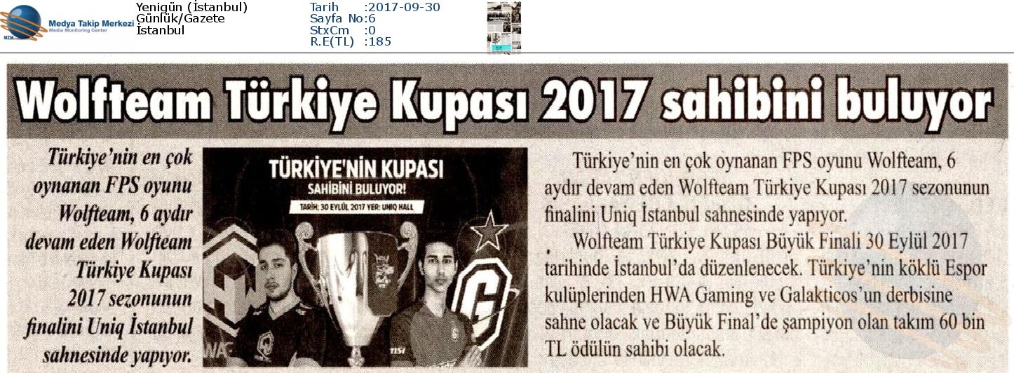 """Yeni Gün Gazetesinde """"Wolfteam Türkiye Kupası 2017 sahibi buluyor"""""""