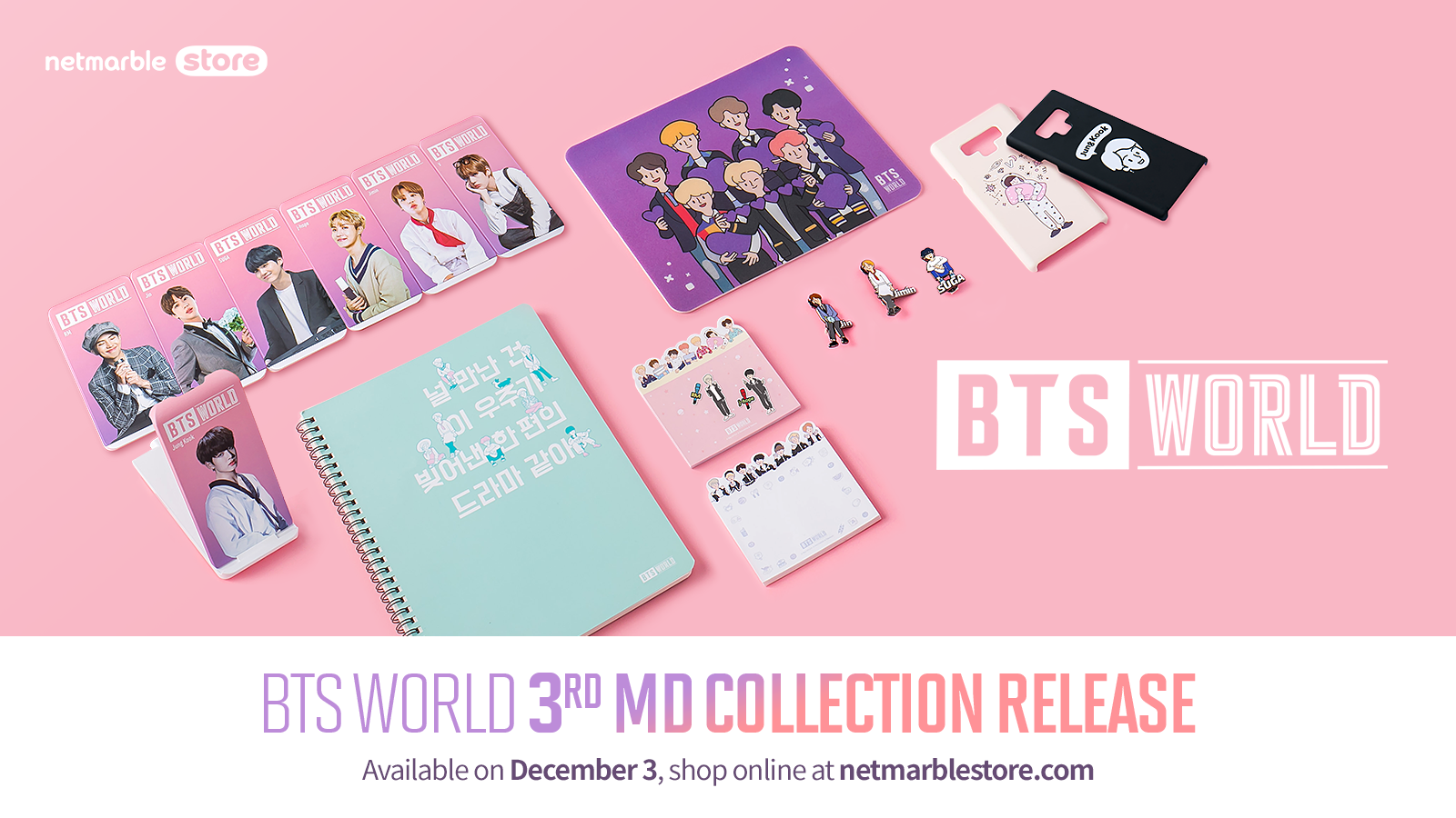 NETMARBLE'S NEW BTS WORLD MERCHANDISE COLLECTION NOW AVAILABLE ONLINE ON DECEMBER 3